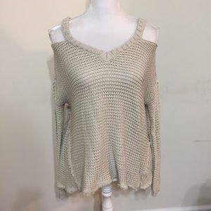 RD Style Sweater Cold Shoulder  Size S Beige